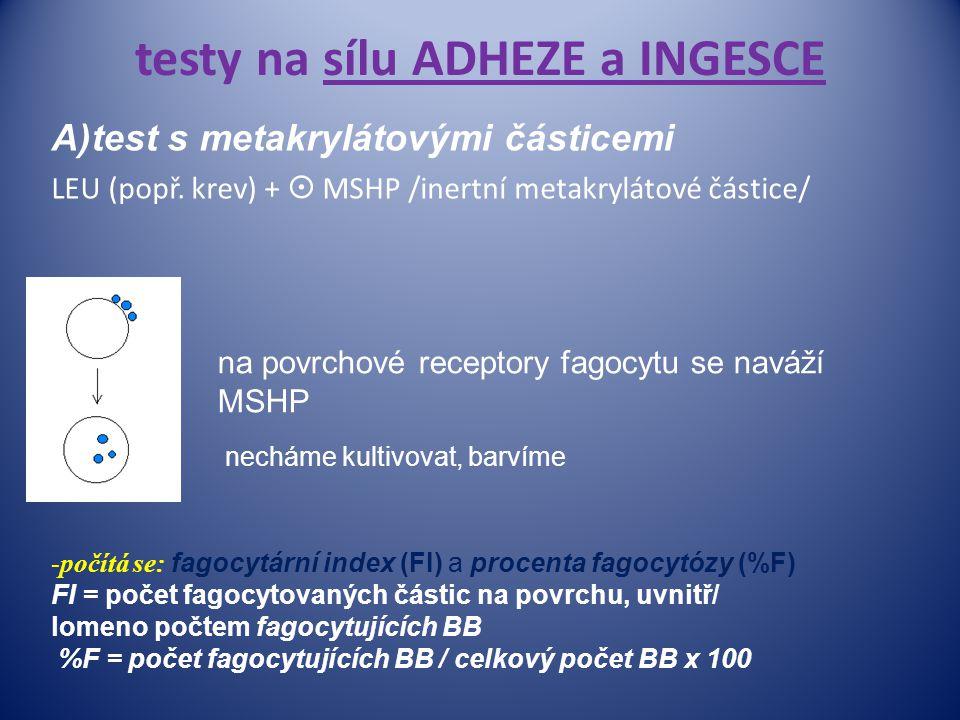 testy na sílu ADHEZE a INGESCE A)test s metakrylátovými částicemi LEU (popř. krev) +  MSHP /inertní metakrylátové částice/ na na povrchové receptory