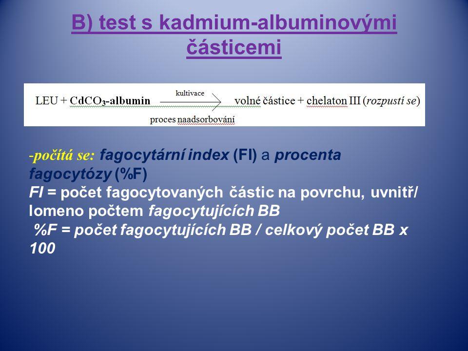 B) test s kadmium-albuminovými částicemi -počítá se: fagocytární index (FI) a procenta fagocytózy (%F) FI = počet fagocytovaných částic na povrchu, uvnitř/ lomeno počtem fagocytujících BB %F = počet fagocytujících BB / celkový počet BB x 100