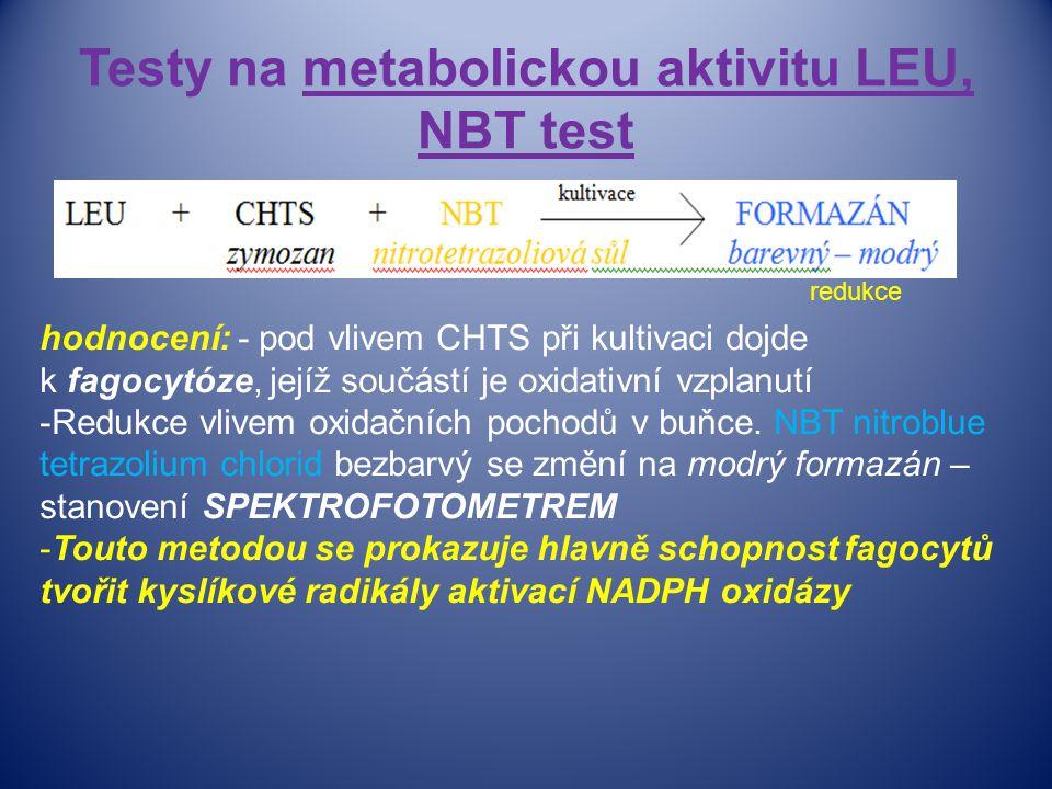 Testy na metabolickou aktivitu LEU, NBT test hodnocení: - pod vlivem CHTS při kultivaci dojde k fagocytóze, jejíž součástí je oxidativní vzplanutí -Redukce vlivem oxidačních pochodů v buňce.