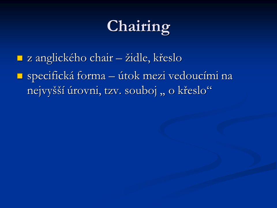 Chairing z anglického chair – židle, křeslo z anglického chair – židle, křeslo specifická forma – útok mezi vedoucími na nejvyšší úrovni, tzv. souboj,