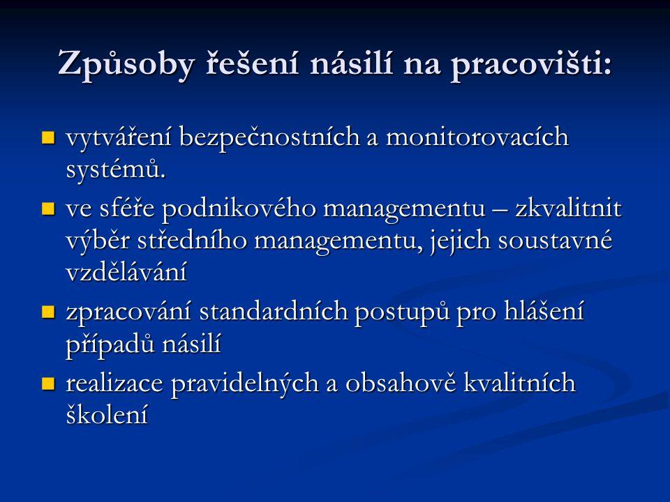 Způsoby řešení násilí na pracovišti: vytváření bezpečnostních a monitorovacích systémů. vytváření bezpečnostních a monitorovacích systémů. ve sféře po