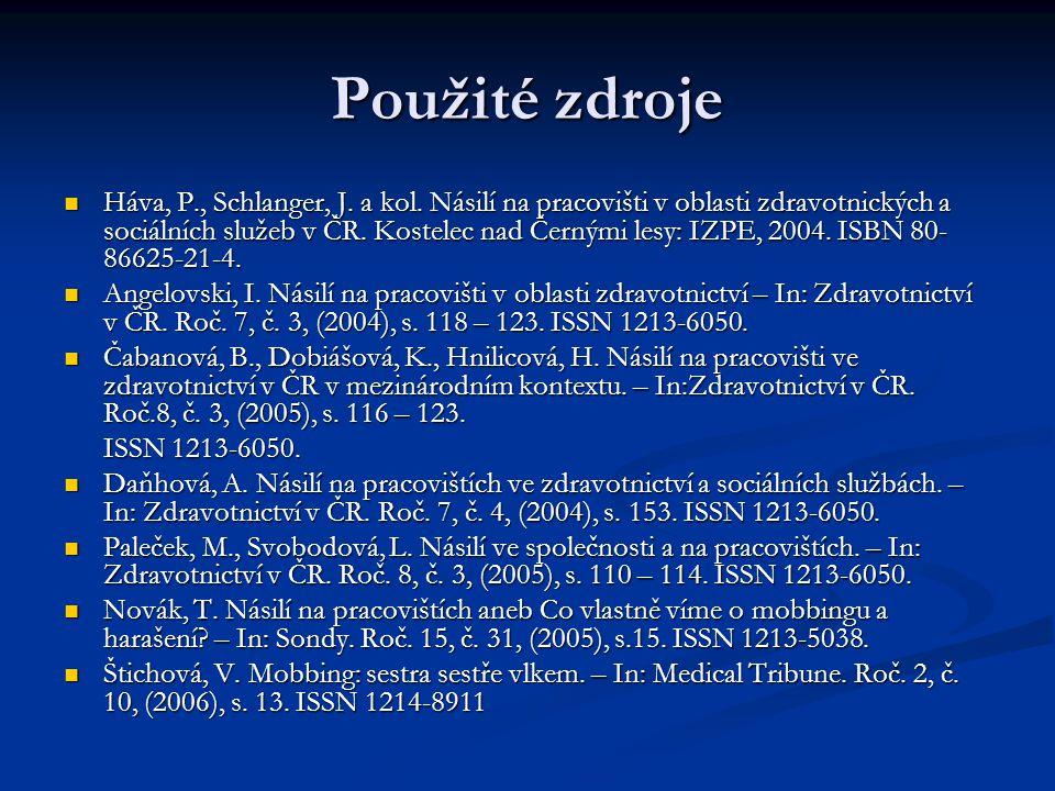 Použité zdroje Háva, P., Schlanger, J. a kol.