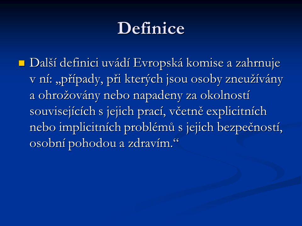 Definice Další definici uvádí Evropská komise a zahrnuje v ní:,,případy, při kterých jsou osoby zneužívány a ohrožovány nebo napadeny za okolností sou