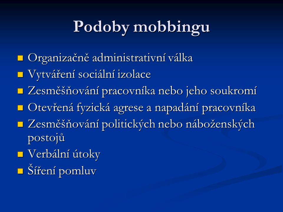 Podoby mobbingu Organizačně administrativní válka Organizačně administrativní válka Vytváření sociální izolace Vytváření sociální izolace Zesměšňování pracovníka nebo jeho soukromí Zesměšňování pracovníka nebo jeho soukromí Otevřená fyzická agrese a napadání pracovníka Otevřená fyzická agrese a napadání pracovníka Zesměšňování politických nebo náboženských postojů Zesměšňování politických nebo náboženských postojů Verbální útoky Verbální útoky Šíření pomluv Šíření pomluv