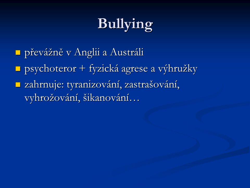 Bullying převážně v Anglii a Austráli převážně v Anglii a Austráli psychoteror + fyzická agrese a výhružky psychoteror + fyzická agrese a výhružky zahrnuje: tyranizování, zastrašování, vyhrožování, šikanování… zahrnuje: tyranizování, zastrašování, vyhrožování, šikanování…