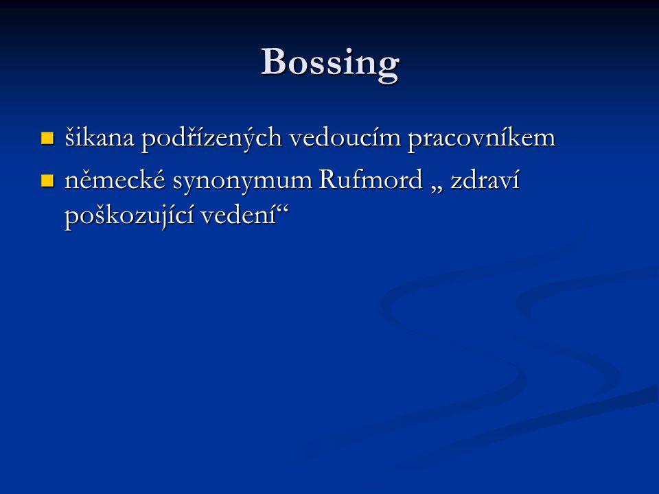 Bossing šikana podřízených vedoucím pracovníkem šikana podřízených vedoucím pracovníkem německé synonymum Rufmord,, zdraví poškozující vedení německé synonymum Rufmord,, zdraví poškozující vedení