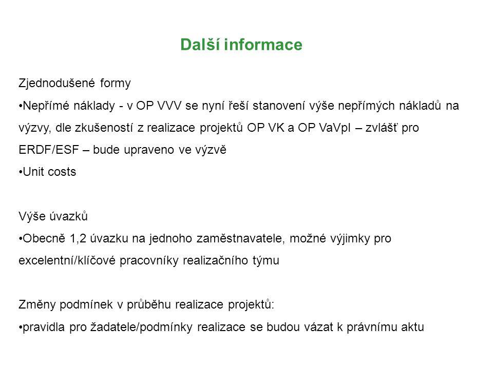 Další informace Zjednodušené formy Nepřímé náklady - v OP VVV se nyní řeší stanovení výše nepřímých nákladů na výzvy, dle zkušeností z realizace projektů OP VK a OP VaVpI – zvlášť pro ERDF/ESF – bude upraveno ve výzvě Unit costs Výše úvazků Obecně 1,2 úvazku na jednoho zaměstnavatele, možné výjimky pro excelentní/klíčové pracovníky realizačního týmu Změny podmínek v průběhu realizace projektů: pravidla pro žadatele/podmínky realizace se budou vázat k právnímu aktu