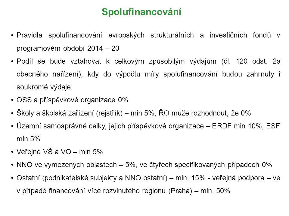 Spolufinancování Pravidla spolufinancování evropských strukturálních a investičních fondů v programovém období 2014 – 20 Podíl se bude vztahovat k celkovým způsobilým výdajům (čl.