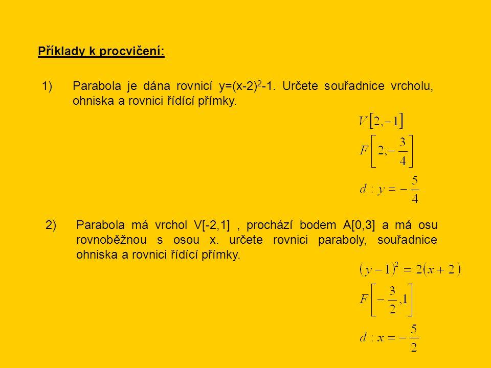 Příklady k procvičení: Parabola je dána rovnicí y=(x-2) 2 -1.