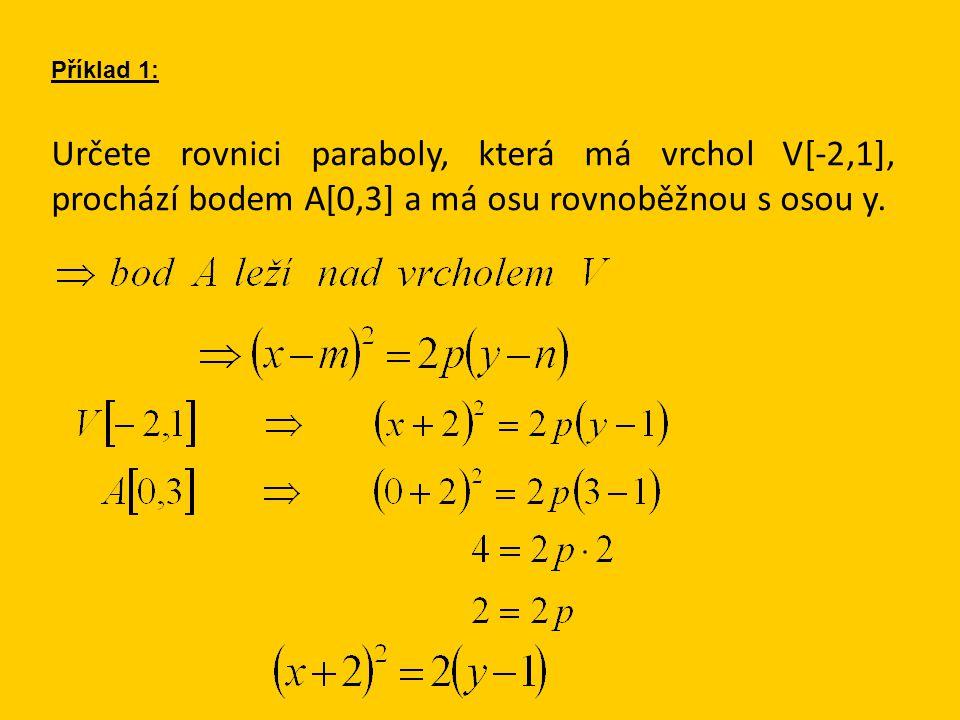 Příklad 1: Určete rovnici paraboly, která má vrchol V[-2,1], prochází bodem A[0,3] a má osu rovnoběžnou s osou y.