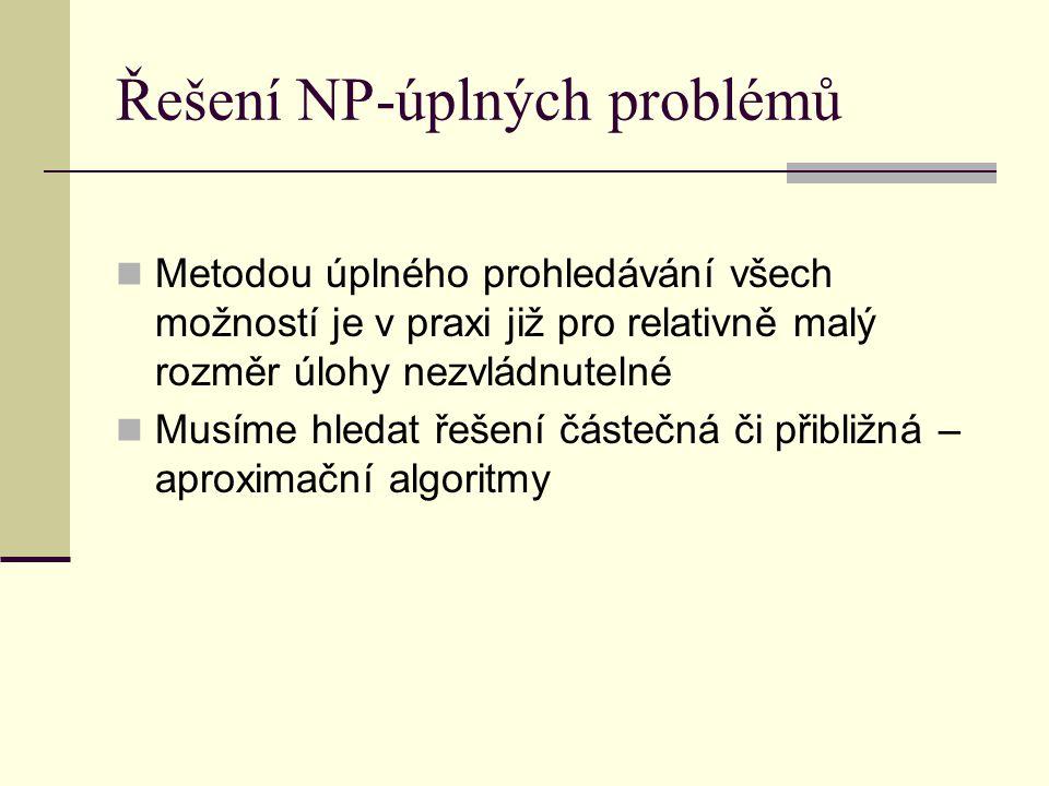 Řešení NP-úplných problémů Metodou úplného prohledávání všech možností je v praxi již pro relativně malý rozměr úlohy nezvládnutelné Musíme hledat řeš