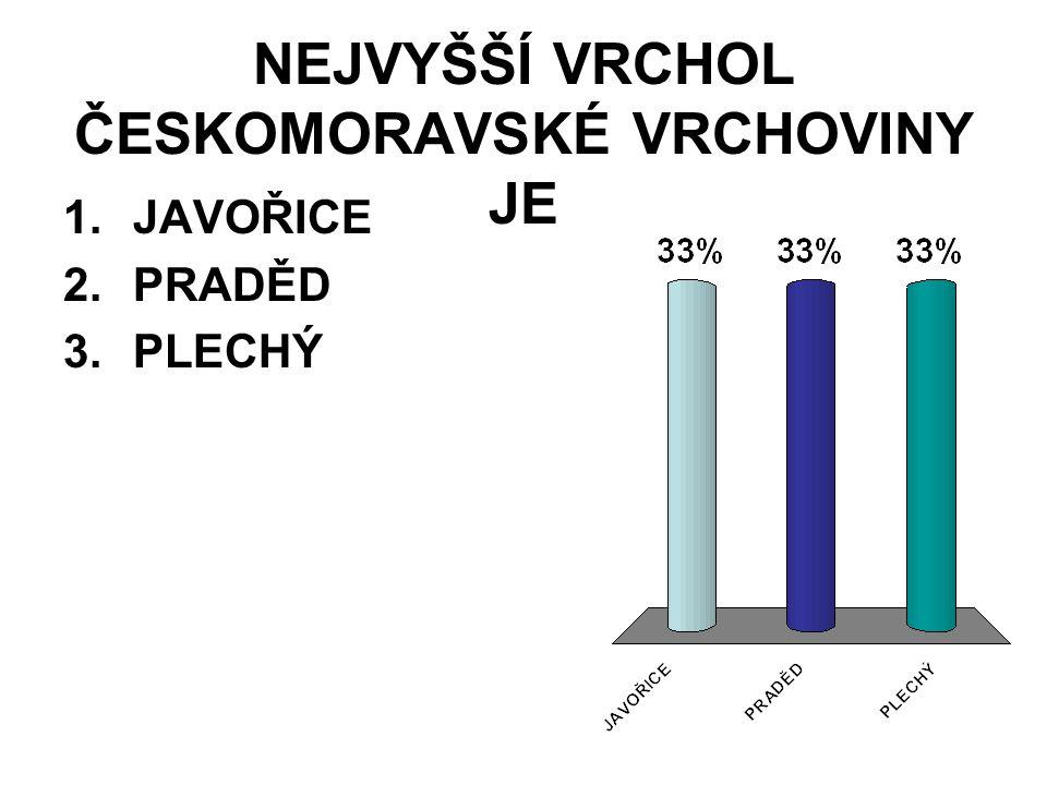 NEJVYŠŠÍ VRCHOL ČESKOMORAVSKÉ VRCHOVINY JE 1.JAVOŘICE 2.PRADĚD 3.PLECHÝ
