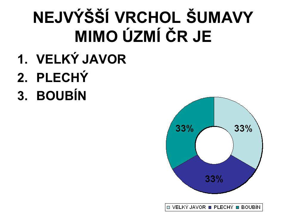 NEJVÝŠŠÍ VRCHOL ŠUMAVY MIMO ÚZMÍ ČR JE 1.VELKÝ JAVOR 2.PLECHÝ 3.BOUBÍN