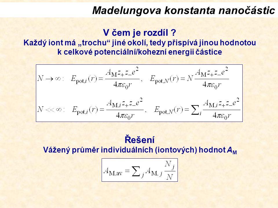 Madelungova konstanta nanočástic V čem je rozdíl .
