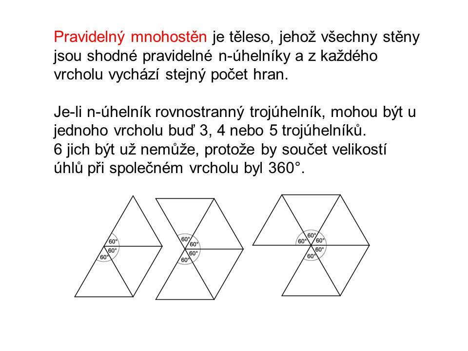 Pravidelný mnohostěn je těleso, jehož všechny stěny jsou shodné pravidelné n-úhelníky a z každého vrcholu vychází stejný počet hran. Je-li n-úhelník r