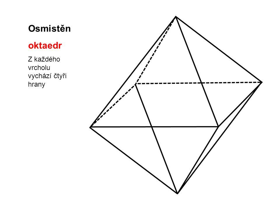 Osmistěn oktaedr Z každého vrcholu vychází čtyři hrany