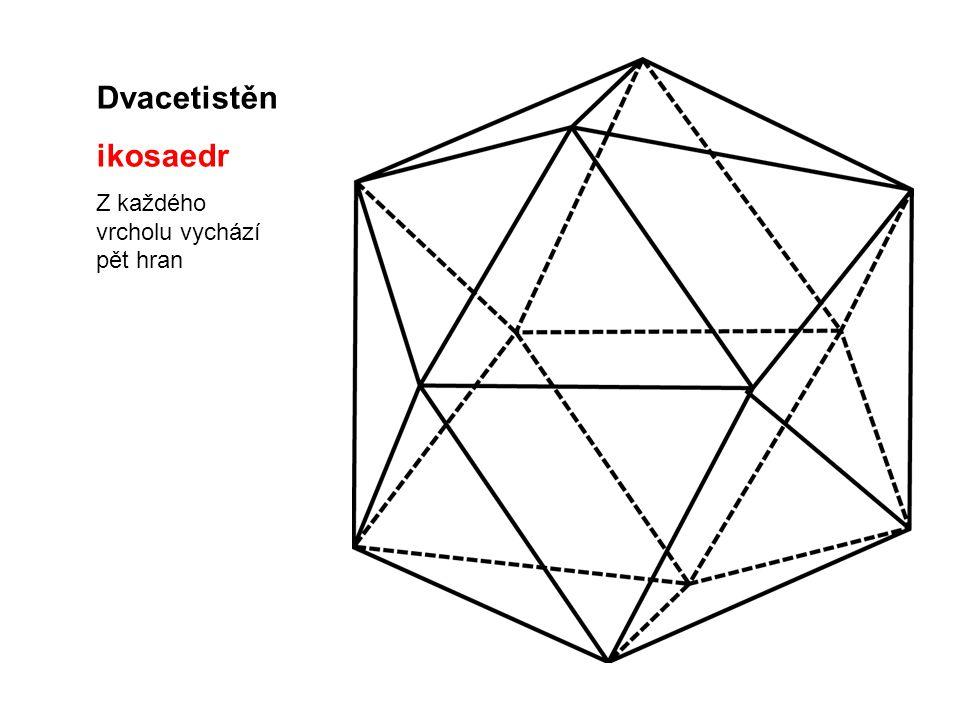Dvacetistěn ikosaedr Z každého vrcholu vychází pět hran