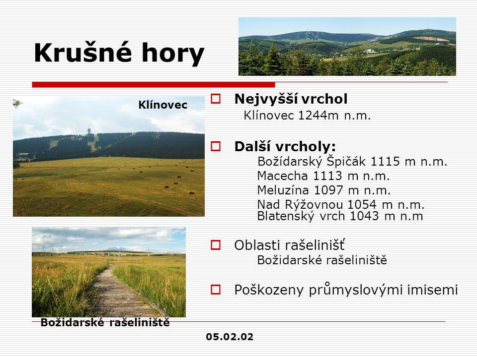 Krušné hory  Nejvyšší vrchol Klínovec 1244m n.m.  Další vrcholy: Božídarský Špičák 1115 m n.m. Macecha 1113 m n.m. Meluzína 1097 m n.m. Nad Rýžovnou