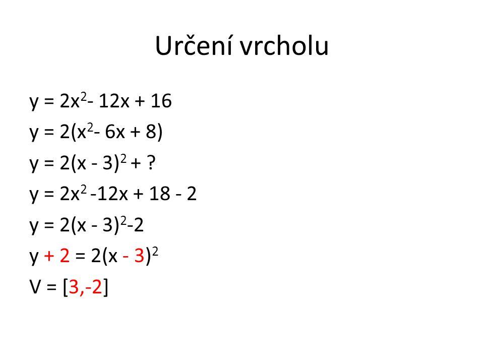 Určení vrcholu y = 2x 2 - 12x + 16 y = 2(x 2 - 6x + 8) y = 2(x - 3) 2 + .