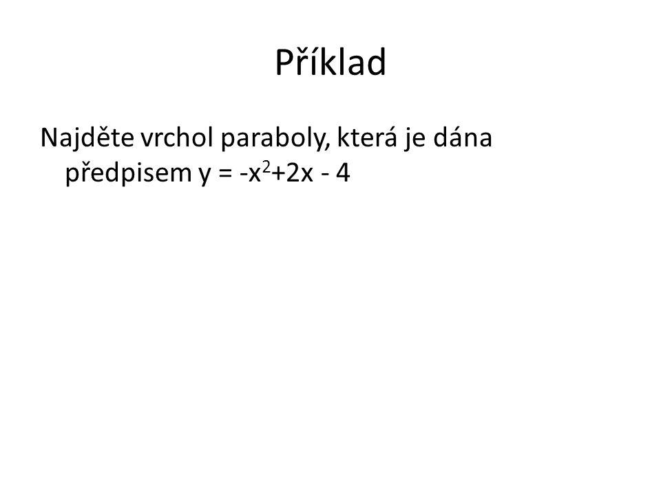 Příklad Najděte vrchol paraboly, která je dána předpisem y = -x 2 +2x - 4