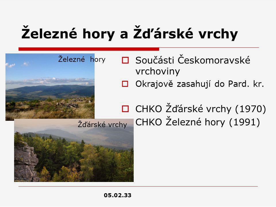 Železné hory a Žďárské vrchy  Součásti Českomoravské vrchoviny  Okrajově zasahují do Pard.
