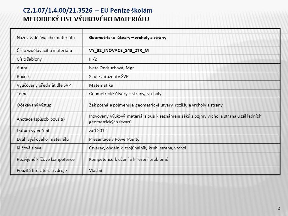 Název vzdělávacího materiáluGeometrické útvary – vrcholy a strany Číslo vzdělávacího materiáluVY_32_INOVACE_243_2TR_M Číslo šablonyIII/2 AutorIveta Ondruchová, Mgr.
