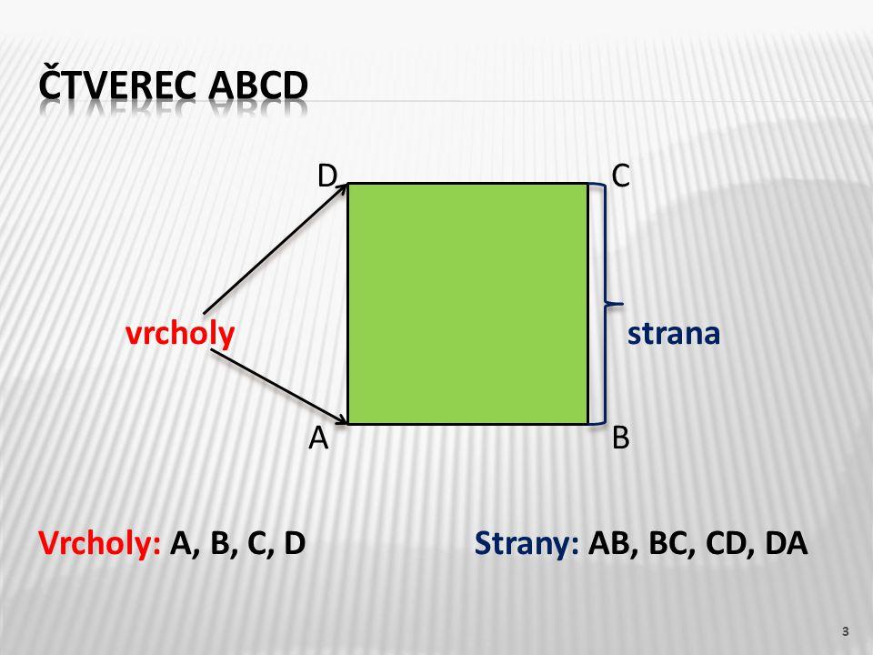 D C vrcholy strana A B Vrcholy: A, B, C, DStrany: AB, BC, CD, DA 3