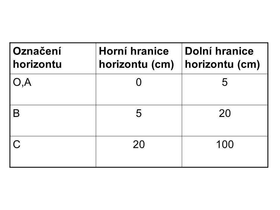 Označení horizontu Horní hranice horizontu (cm) Dolní hranice horizontu (cm) O,A05 B520 C 100