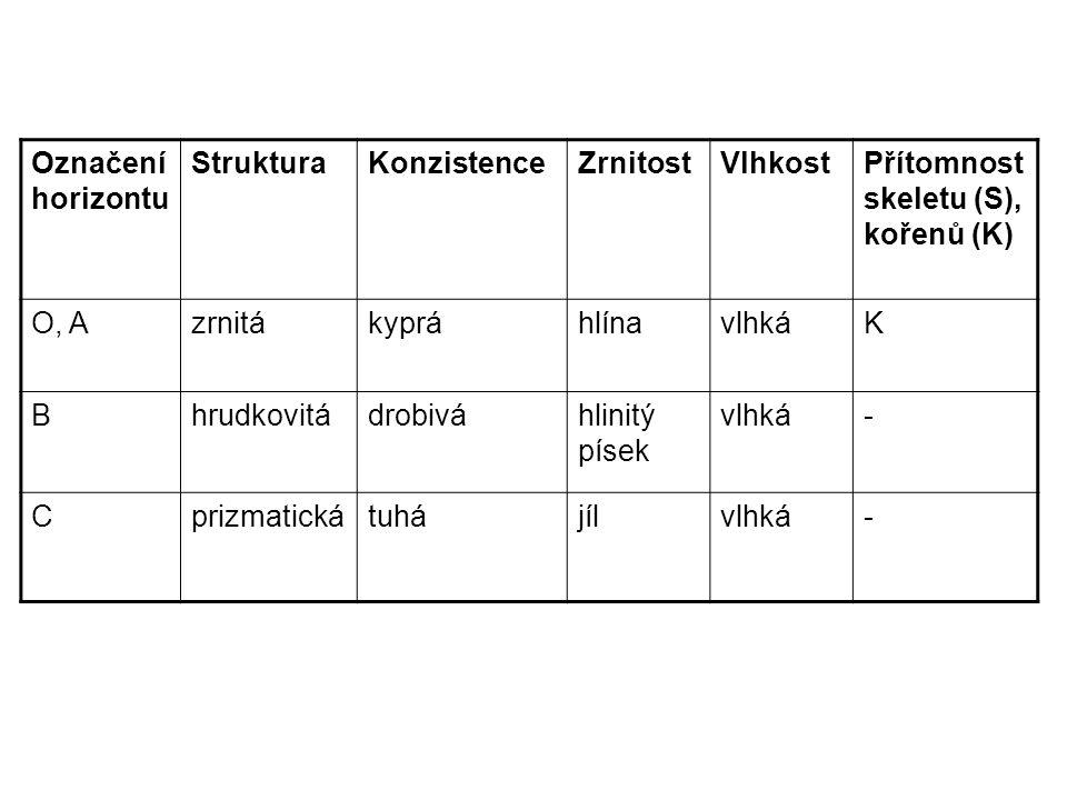 Označení horizontu StrukturaKonzistenceZrnitostVlhkostPřítomnost skeletu (S), kořenů (K) O, AzrnitákypráhlínavlhkáK Bhrudkovitádrobiváhlinitý písek vlhká- Cprizmatickátuhájílvlhká-
