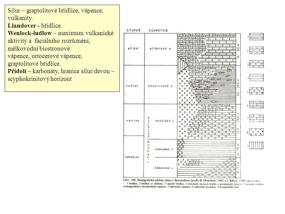 Silur – graptolitové břidlice, vápence, vulkanity.