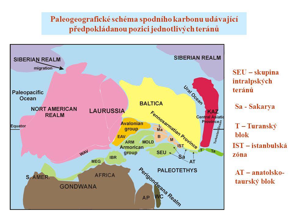 Paleogeografické schéma spodního karbonu udávající předpokládanou pozici jednotlivých teránů IST – istanbulská zóna AT – anatolsko- taurský blok T – Turanský blok Sa - Sakarya SEU – skupina intralpských teránů
