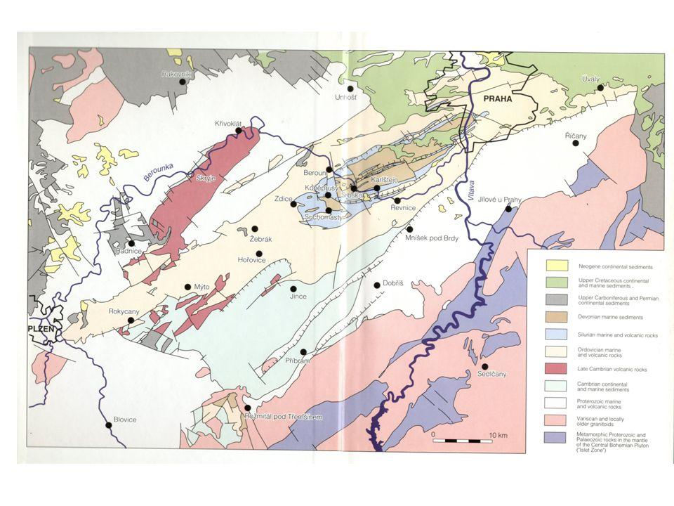 Středočeská oblast – Barrandien, Železné hory Kambrium – kadomská molasa, severní okraj Gondwany, mediterranní subprovincie, příbramsko-jinecká a skryjsko-týřovická Pánev, rožmitálský ostrov Příbramsko-jinecká pánev – kontinentální sedimentace (aluviální kužely, divočíci řeky, méně lakustrinni sedimenty.