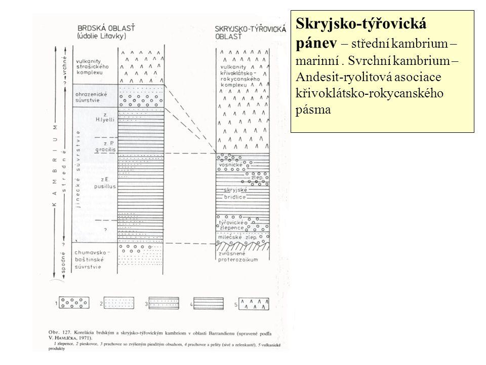 Skryjsko-týřovická pánev – střední kambrium – marinní.