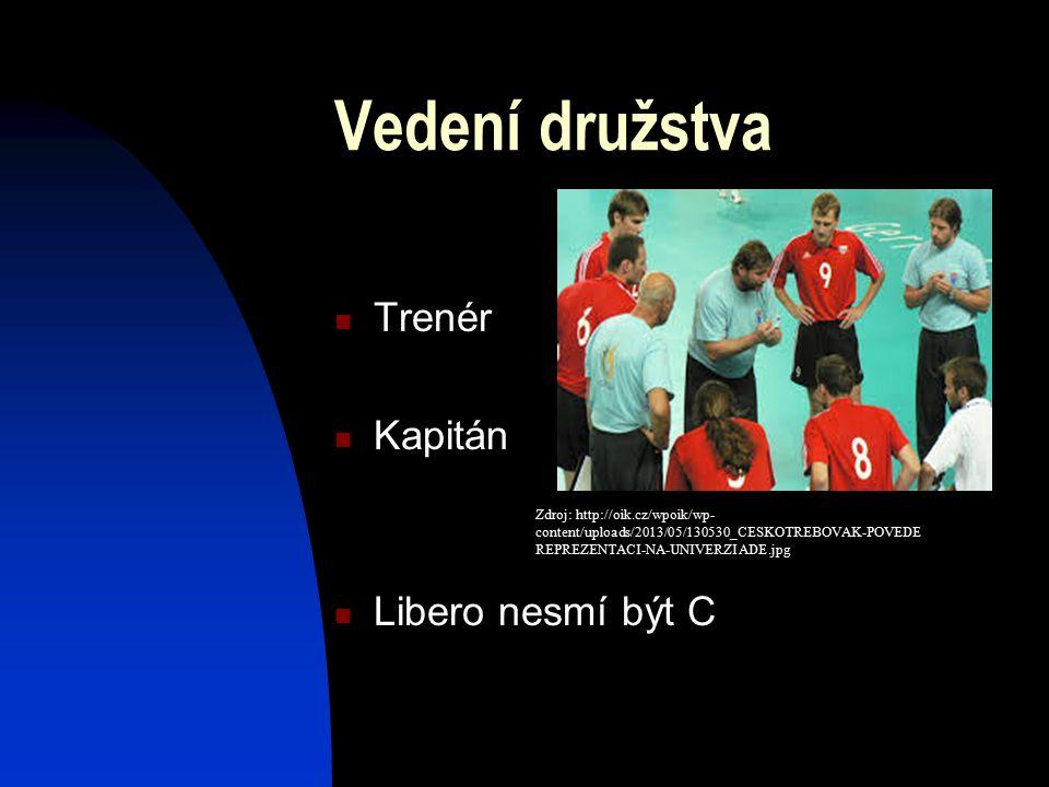 Vedení družstva Trenér Kapitán Libero nesmí být C Zdroj: http://oik.cz/wpoik/wp- content/uploads/2013/05/130530_CESKOTREBOVAK-POVEDE REPREZENTACI-NA-UNIVERZIADE.jpg
