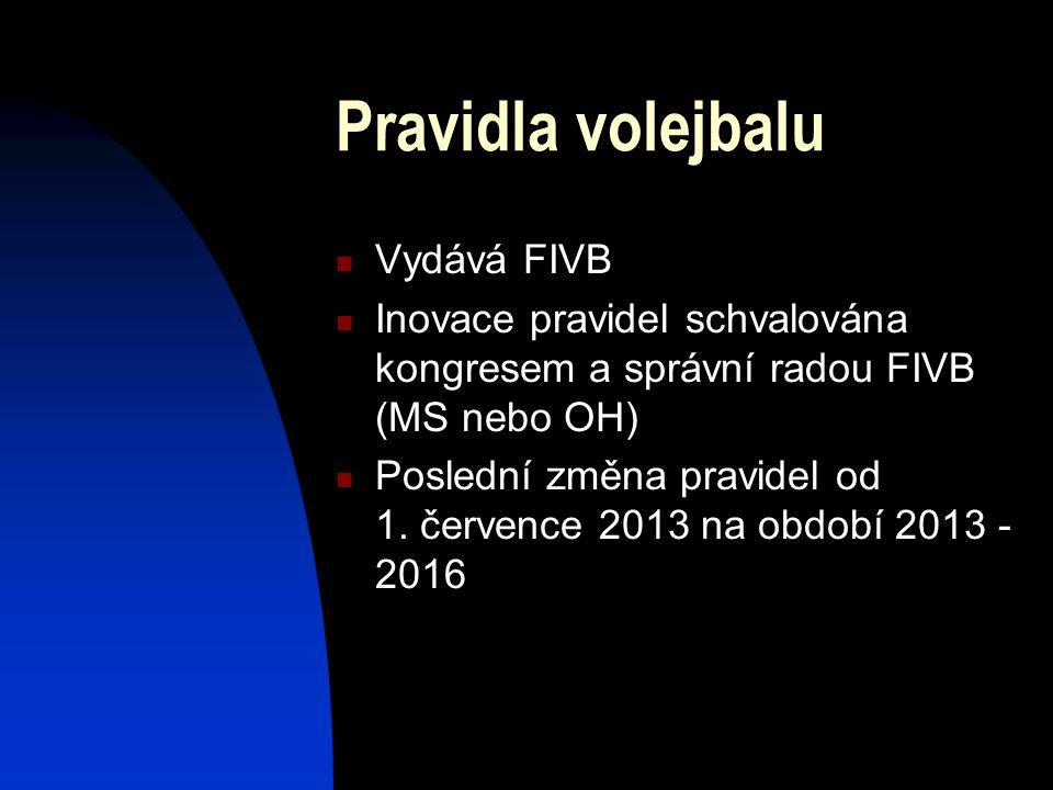 Pravidla volejbalu Vydává FIVB Inovace pravidel schvalována kongresem a správní radou FIVB (MS nebo OH) Poslední změna pravidel od 1.