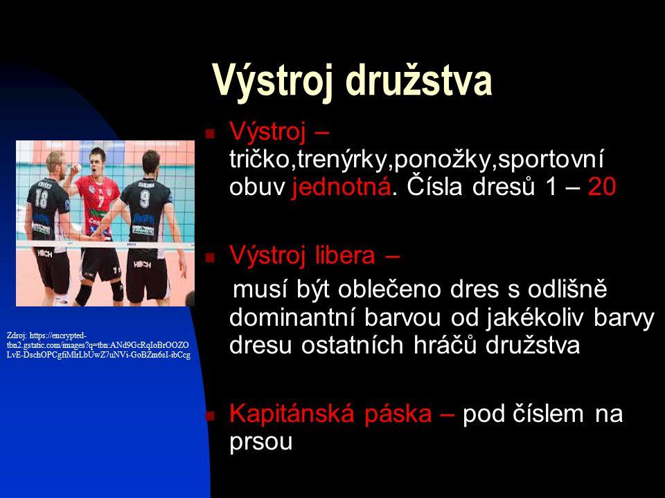 Výstroj družstva Výstroj – tričko,trenýrky,ponožky,sportovní obuv jednotná.
