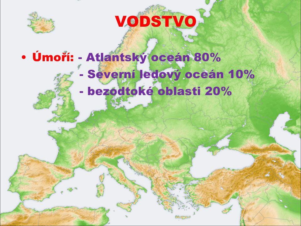 VODSTVO Úmoří: - Atlantský oceán 80% - Severní ledový oceán 10% - bezodtoké oblasti 20%