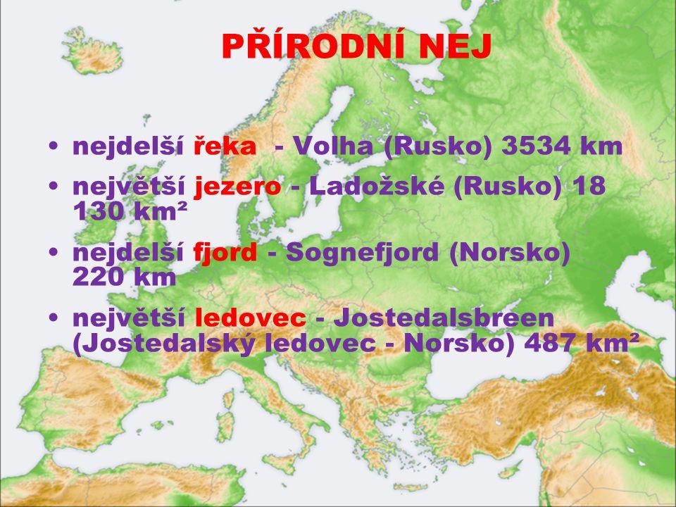 PŘÍRODNÍ NEJ nejdelší řeka - Volha (Rusko) 3534 km největší jezero - Ladožské (Rusko) 18 130 km² nejdelší fjord - Sognefjord (Norsko) 220 km největší ledovec - Jostedalsbreen (Jostedalský ledovec - Norsko) 487 km²