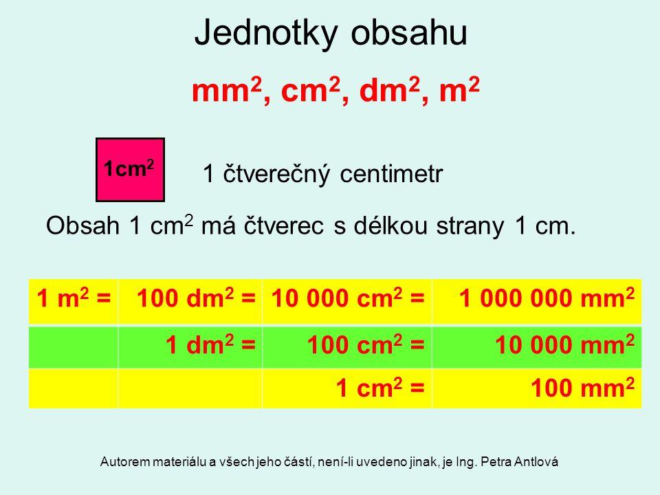 Autorem materiálu a všech jeho částí, není-li uvedeno jinak, je Ing. Petra Antlová Jednotky obsahu mm 2, cm 2, dm 2, m 2 Obsah 1 cm 2 má čtverec s dél