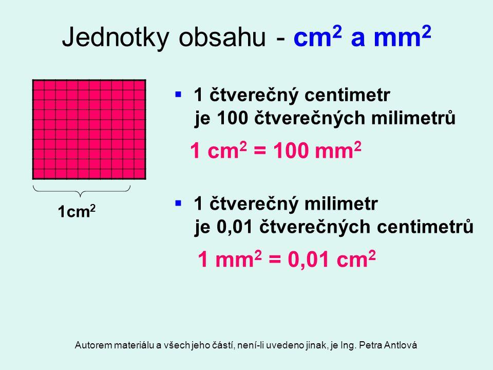 Autorem materiálu a všech jeho částí, není-li uvedeno jinak, je Ing. Petra Antlová Jednotky obsahu - cm 2 a mm 2  1 čtverečný centimetr je 100 čtvere