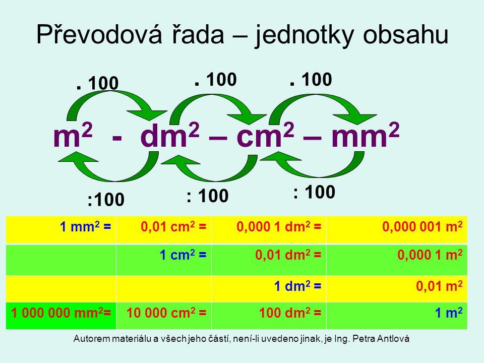 Autorem materiálu a všech jeho částí, není-li uvedeno jinak, je Ing. Petra Antlová Převodová řada – jednotky obsahu m 2 - dm 2 – cm 2 – mm 2. 100 : 10