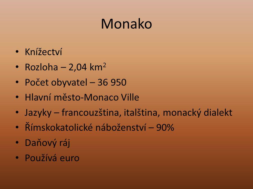 Monako Knížectví Rozloha – 2,04 km 2 Počet obyvatel – 36 950 Hlavní město-Monaco Ville Jazyky – francouzština, italština, monacký dialekt Římskokatoli