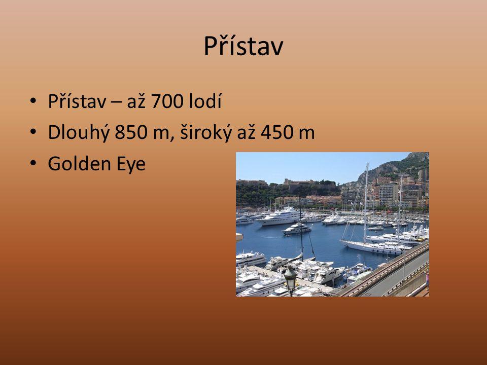 Přístav Přístav – až 700 lodí Dlouhý 850 m, široký až 450 m Golden Eye