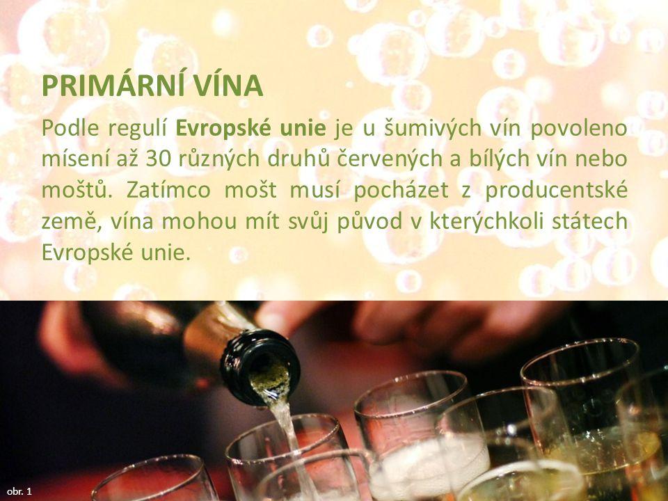 PRIMÁRNĺ VÍNA Podle regulí Evropské unie je u šumivých vín povoleno mísení až 30 různých druhů červených a bílých vín nebo moštů. Zatímco mošt musí po