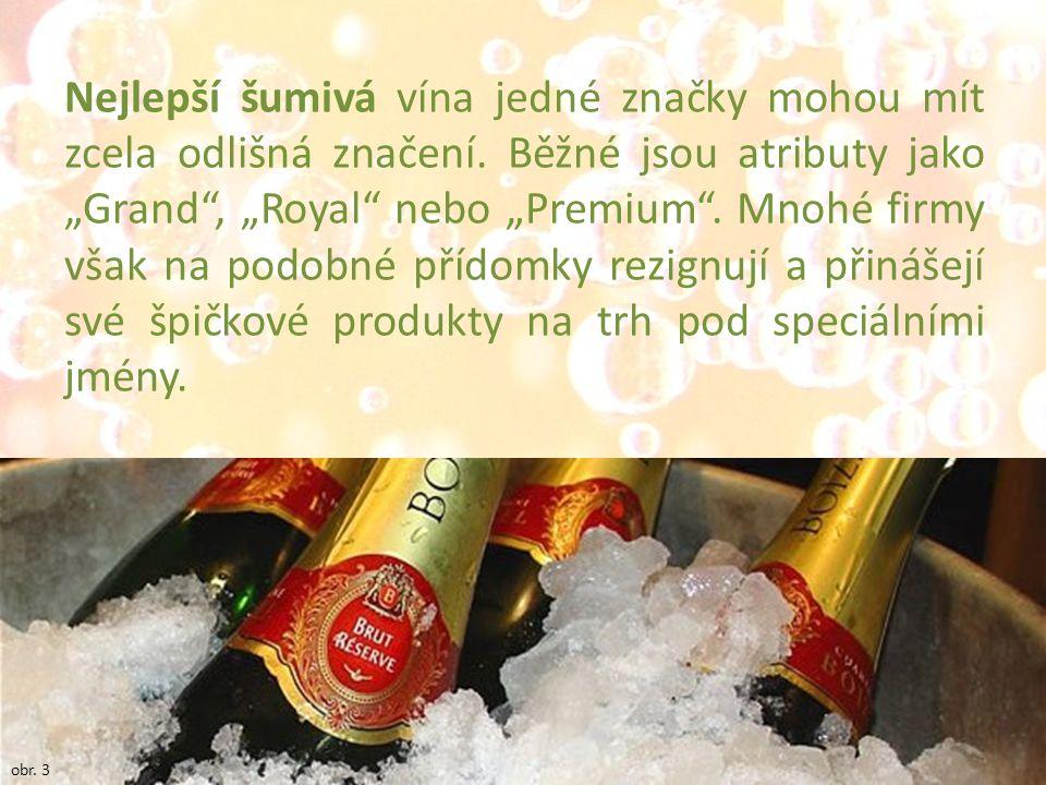 """Nejlepší šumivá vína jedné značky mohou mít zcela odlišná značení. Běžné jsou atributy jako """"Grand"""", """"Royal"""" nebo """"Premium"""". Mnohé firmy však na podob"""