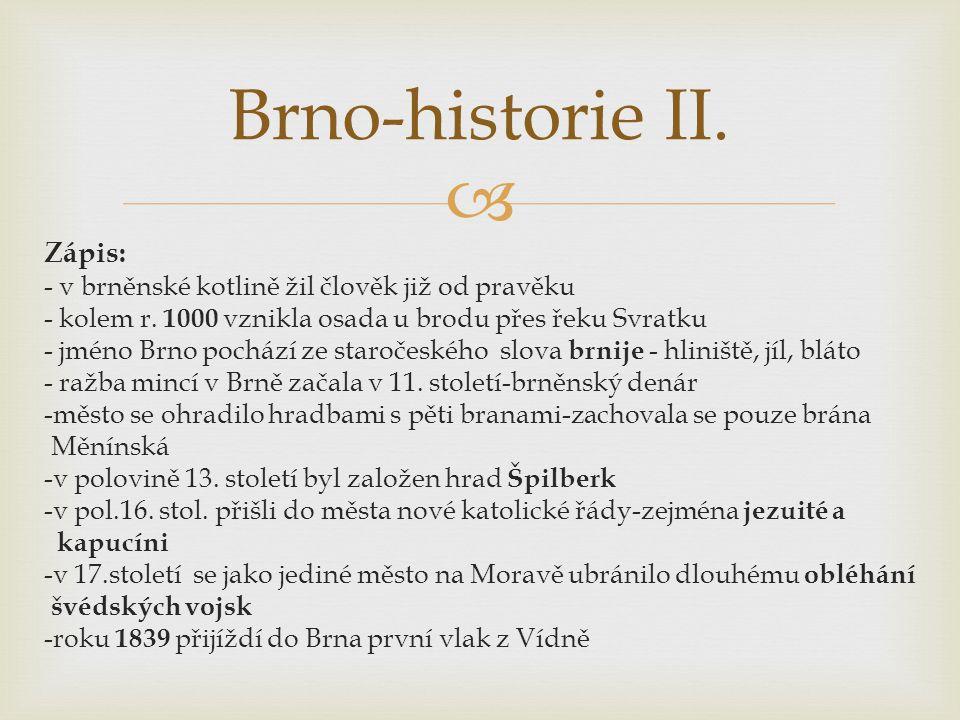 Zápis: - v brněnské kotlině žil člověk již od pravěku - kolem r. 1000 vznikla osada u brodu přes řeku Svratku - jméno Brno pochází ze staročeského s