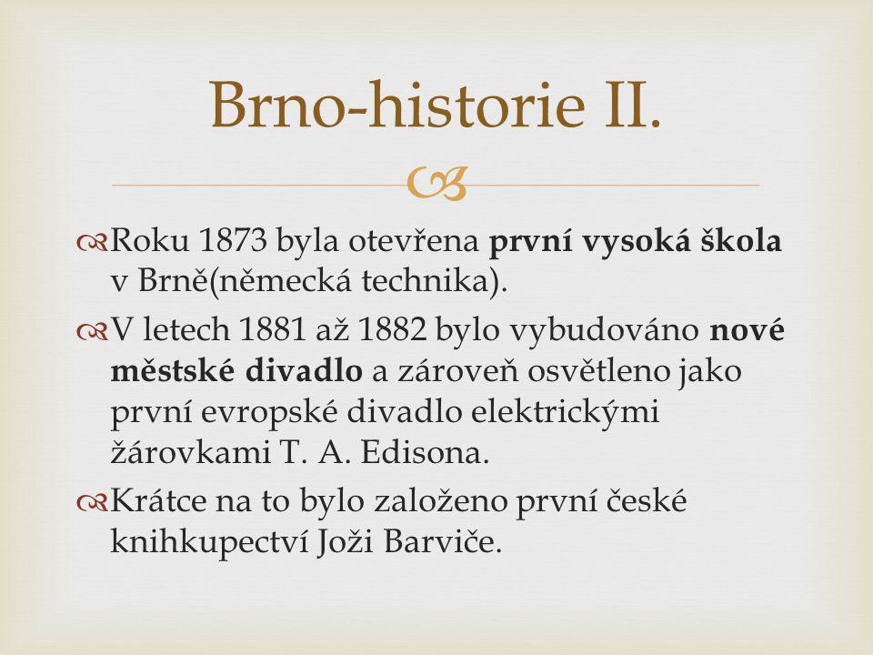   Roku 1873 byla otevřena první vysoká škola v Brně(německá technika).  V letech 1881 až 1882 bylo vybudováno nové městské divadlo a zároveň osvětl