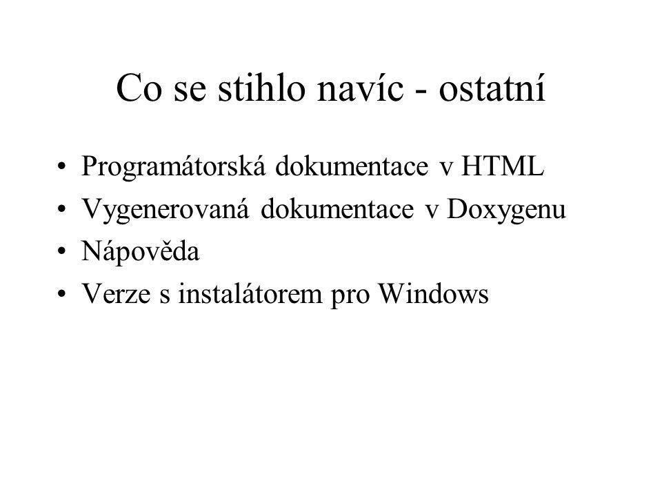 Co se stihlo navíc - ostatní Programátorská dokumentace v HTML Vygenerovaná dokumentace v Doxygenu Nápověda Verze s instalátorem pro Windows