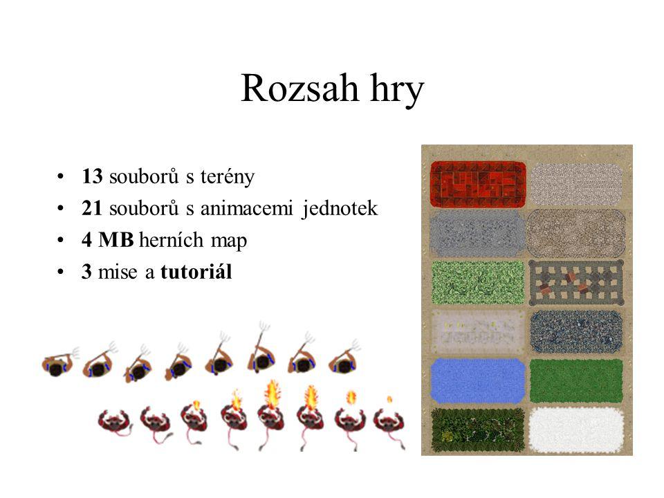 Rozsah hry 13 souborů s terény 21 souborů s animacemi jednotek 4 MB herních map 3 mise a tutoriál