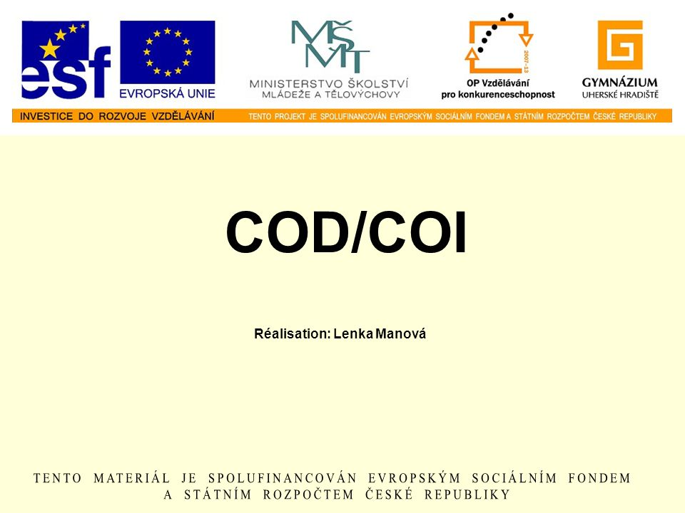 COD/COI Réalisation: Lenka Manová